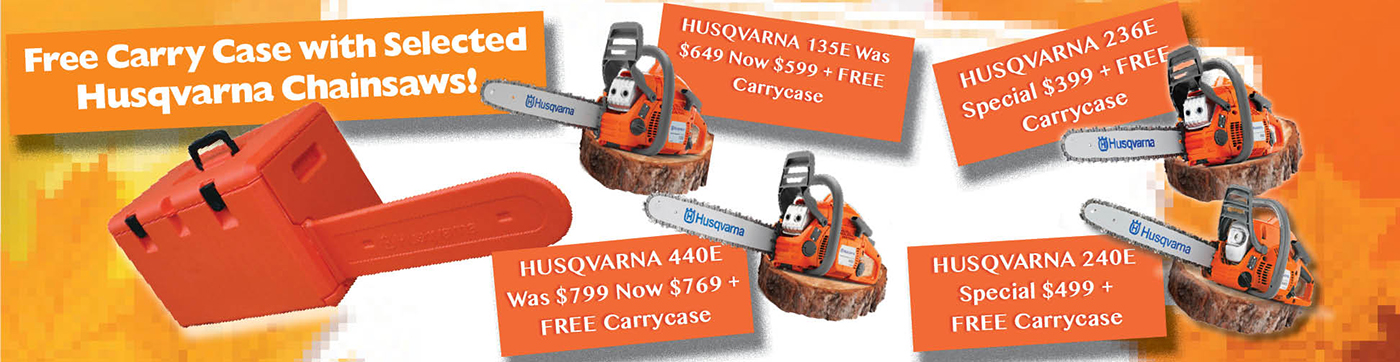 Free Carry Case with selected Husqvarna Chainsaws