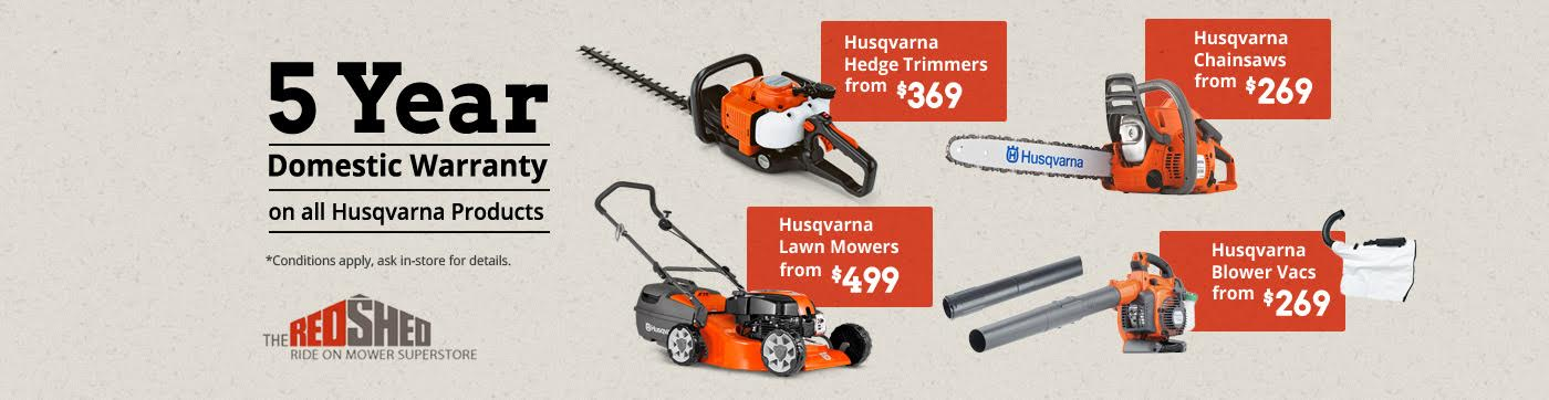 5 Years Domestic Warranty on all Husqvarna Products